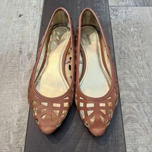 Express Brown & Gold Pointed Toe Flats Woven